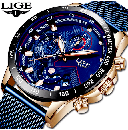 LIGE Fashion Mens Watch Rose Gold with Blue Face
