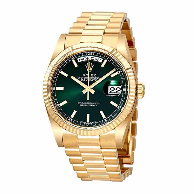 Rolex Day Date Green Dial Automatic 18K Yellow Gold