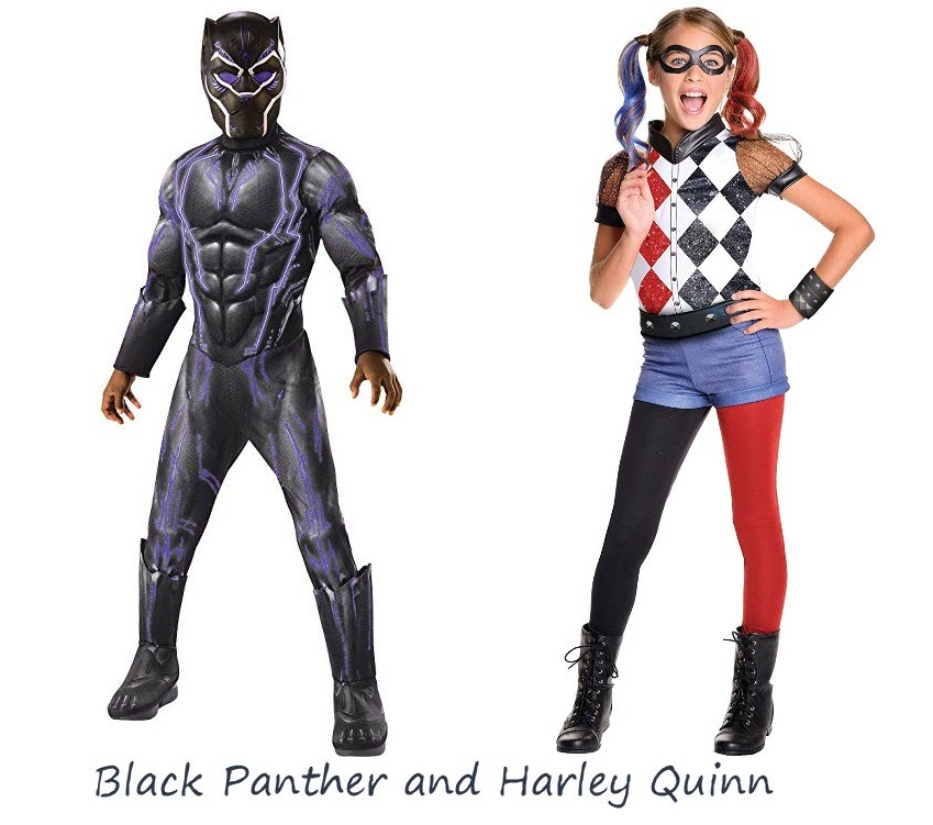 Kids Halloween Costume Black Panther and Harley Quinn