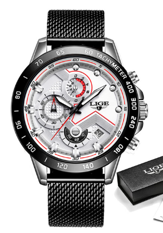 LIGE Fashion Mens Watch Rose Silver and White